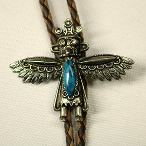 Native American Dancer Bolo Tie Turquoise Western